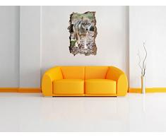 aggraziato Lupo nel muro svolta foresta in look 3D, parete o in formato adesivo porta: 92x62cm, autoadesivi della parete, autoadesivo della parete, decorazione della parete