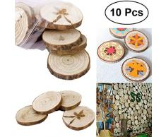 OUNONA legno fette rotonda gioielli fai da te legno Log fette dischi per DIY mestieri nozze Pasqua decorazione casa appeso ornamenti – 10pz
