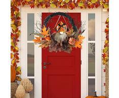Sayala Corona di Halloween Corona di Foglie d'Acero Corona di Autunno Corona di Bat con Luce per Porta d'ingresso Home Decor Decorazione di Pasqua