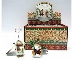 Bomboniera natalizia set 6 pezzi segnaposto con babbo natale e pupazzo di neve con clip pinzetta portafoto