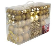 Set di 100 palle di Natale Ø3/4/6cm plastica oro ornamento per l'albero di Natale decorazione di Natale decorazione per l'abete