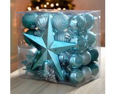 WeRChristmas - Set di decorazioni natalizie, 42 pezzi tra cui palline, punta per albero di Natale e ghirlanda turchese blu