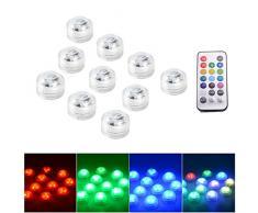 XCSOURCE 10pcs sommergibili 10 RGB SMD3528 multicolore del partito del LED Vaso Luce Base impermeabile della decorazione della luce w / Remote Control LD966