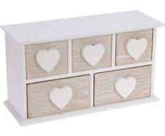 Portagioie piccolo in legno con 5 cassetti, con cuore in legno bianco, cofanetto portagioie
