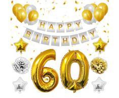 BELLE VOUS 60 Anni Compleanno Festa Decorazioni - Numero 60 Oro Palloncini, Striscione di Happy Birthday, Oro e Argento Stelle Palloncini, Lattice Ballon, Pom Pom per 60o Birthday
