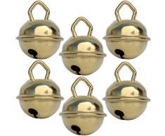 Campanellini dorati (6x 15 mm oro) Campanelle colorati musicali metallo 16 colori : giganti 35mm grandi 25mm piccoli 15mm, Fai da te decorazioni natale matrimonio giochi Montessori gatto cani
