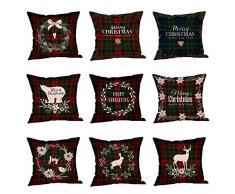 MoGist Natale cotone lino federa per cuscino classico Plaid Natale stampa floreale cuscino divano cuscino cuscino Home cuscino decorativo, Style1, 45cm*45cm