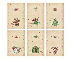 MHwan Pacchetto di cartoline di Natale, cartoline di natale, 6 pezzi di biglietti di auguri fatti a mano Kit di cartoline di Natale per bambini Regalo di artigianato per bambini, 8,5 x 11,5 cm