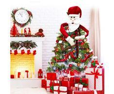 TANCUDER Babbo Natale Puntale Albero di Natale Albero di Natale Topper Treetops Decorazione di Albero di Natale Tradizionale Top Albero di Natale per Decorazioni per Casa Feste di Natale