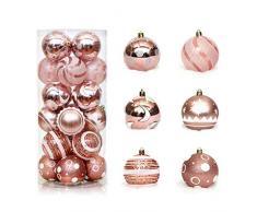 Pveath - Palline decorative, multicolore, infrangibili, per feste di matrimonio e Natale, 6 cm, 24 pezzi Oro rosato