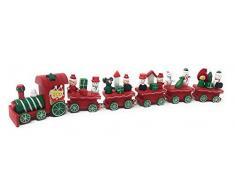Vetrineinrete® Trenino Natalizio in Legno con Locomotiva Treno con 5 vagoni 32cm Decorazioni Natalizie Giochi per Bambini Idea Regalo Natale 6167