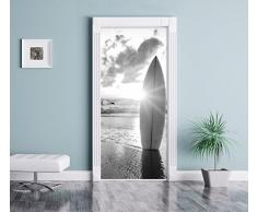 Tavola da surf sulla spiaggia al tramonto Arte B & W come Murale, Formato: 200x90cm, telaio della porta, adesivi porta, porta decorazione, autoadesivi del portello