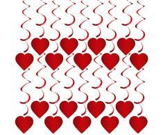 Rorchio Cuore Rosso Turbinii Pendenti, Decorazione San Valentino, Stelle Filanti Ornamento di Fidanzamento per Festa di Anniversario di Matrimonio con Gancio (20 Pezzi)