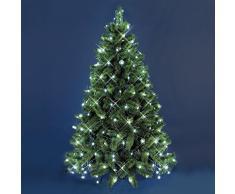 Mantello di luci per albero di Natale 3,8 x h. 2 m, 195 led bianco freddo, cavo verde, decorazione albero, luci per albero