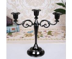 Kentop Candelabro a 3 bracci portacandele da tavolo in metallo Candelabro per matrimonio Home Decor, Nero, 26.5x27cm