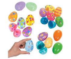 12PCS uova di Pasqua colorate dipinte di Pasqua di plastica uova di pasqua sveglio Sorpresa Giocattoli uova regalo di Pasqua per i bambini del rifornimento del partito Giocattoli e giochi