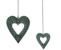 Grande portacandela lumino da appendere in metallo intagliato a forma di cuore verde antico