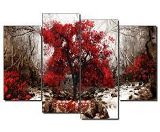 Dekoarte 274 - Quadro moderno su tela montato su telaio in legno di 4 pezzi, natura paesaggio con albero rosso fondo ocra, 120x90cm