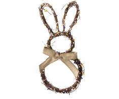 Qwing Decorazione del coniglietto di Pasqua, corona del coniglietto di Pasqua, ghirlanda di vimini, decorazione appesa ghirlanda artificiale, ghirlanda di rattan fatta a mano per matrimonio pasquale