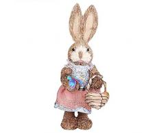 Usmato Coniglietto Pasquale Realizzato in Materiale Naturale, Coniglietto di Paglia di Simulazione, Bellissimo Arredamento per Vacanze Squisito, Accessori per Amici Bambini, Coniglietto per Pasqua