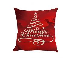 "Cuscino di Christmas, Longra ""Merry Christmas"" natale lino square rimovibili e lavabile federa (D)"