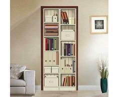 FLFK 3D Gabinetto dello scaffale per libri Autoadesiva Adesivo per porta Murale Foto Adesivo da parete decalcomania Casa arredamento 30.3x78.7