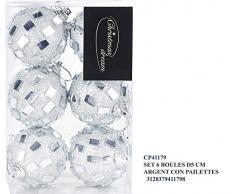 Idea Natale: Set 6 palle di natale con pailettes per addobbo albero di natale o feste o party (argento d5 cm)