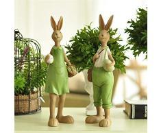 Pasqua Decoracion - Coniglietto pasquale, in resina, 2 pezzi