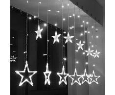 Luci della stringa tenda LED, SUAVER Impermeabili 2.5m 138LEDs Stringa Luce,Batteria 12 Stelle Luci Natale Interno/Esterno Tenda Luminosa per Camera da letto,Giardino,Festa,Matrimonio,Bagno (Bianca)