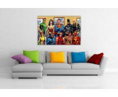 """JUSTICE LEAGUE PER FOTO DI FAMIGLIA, DC COMICS, MOTIVO SUPEREROI POP ART-TELA ARTISTICA DA PARETE CON STAMPA FOTO-DECORAZIONI DA PARETE, MOTIVO: SUPEREROI, CORNICE, MOTIVO: SUPERMAN BATMAN E WONDER WOMAN Europeo 0- A4 - 12"""" X 8"""" (30CM X 20CM)"""