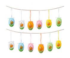 Naler Set di 12 Uova Pasquali Colorate Finte Uova da Appendere Pasquali Uova con Disegno di Coniglio Decorazioni di Festa Pasqua, 4X6CM