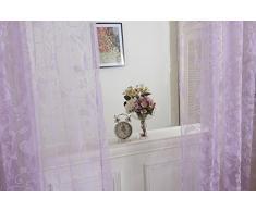 Tenda Tulle Motivo Farfalla Floccato Decorazioni Interni Finestre Letto, Misura 100*200cm - Viola