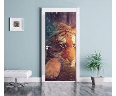 Un mondo di fantasia - una donna e un effetto matita arte gigantesca tigre come Murale, Formato: 200x90cm, telaio della porta, adesivi porta, porta decorazione, autoadesivi del portello