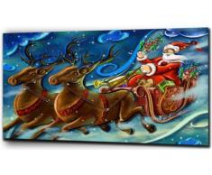 Plush Prints Babbo Natale e renna, stampa su tela, Bianco/Nero, 50,8 x 61 cm