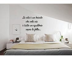 """wall stickers Adesivo murale frase""""La vita è un brivido che vola via"""" -decorazione interni (LARGE 120 CM. X 50 CM.) Adesivo4You®"""