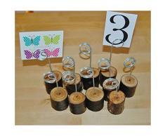 Pixnor Matrimonio Segnaposto porta numero tavolo decorazioni per feste in casa, in legno, confezione da 6