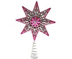 WeRChristmas - Puntale per albero di Natale, a forma di stella con brillantini, 21 cm, in plastica infrangibile, colore: rosa shocking