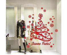 NT0381 Adesivi Murali - Albero con fiocchi di neve - Vetrofanie natalizie - 60x120 cm - Rosso - Decorazioni vetrine per Natale, stickers, adesivi