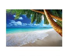 Spiaggia di sabbia con palme e mare FOTOMURALE- Spiaggia di paradiso sotto le palme - quadro tappezzeria da parete -XXL Spiaggia-decorazione da parete 210 cm x 140 cm