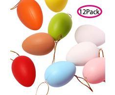 VVSMILE Set di 12 Uova di plastica Colorate da Appendere con nastrino per Decorazioni pasquali