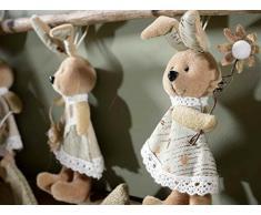Ideapiu 6 Coniglietto pasquale in peluche con fiorellino da appendere