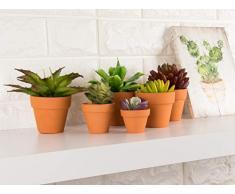 Set di 10 piccoli vasi di terracotta, vasi per fiori di piccole dimensioni, piantine da interni e da esterni e per piante grasse, colore: marrone, 4 x 6,3 cm