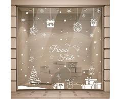 Gigio Store Vetrofanie Natalizie - 2.00x2.00 Metri - Rimovibile e Riposizionabile, Adesivi Natalizi vetrine Negozi, Sticker Decorativi di Natale Vetro finestre casa, Vetrofanie Natale