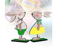 Danigrefinb, Coniglietto Pasquale, Supporto in Legno, Decorazione da scrivania per casa e Ufficio, Ornamento per Pasqua, Ornamenti per la casa, Legno, Green, Taglia Unica