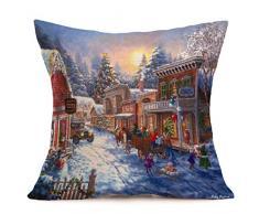 Kword Buon Natale Natale Biancheria Federe Cuscino Cover Cuscino Divano Casa Decorazione (D)