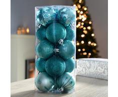 WeRChristmas Palle di Natale, in plastica infrangibile, 15 pezzi argento/turchese