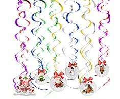 Jinlaili Decorazioni Natalizie da Appendere, 12 Pz Decorazione di Turbinio, Stelle Filanti a Spiraledi Natale, Decorazioni Natalizie per Casa Negozio Festa di Natale