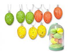 Set di 16 pezzi osterdeko: 9 gesprenkelte Ostereier Z. appeso + 6 fiori + Sisal della decorazione erba, cupola Box, allegro disegno colori, giallo/arancione/verde, H: 4 cm, uova pasqua decorazione Primavera