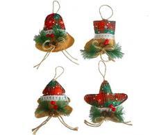 Pinellia Ornamenti per Alberi di Natale Ciondolo in Tela con Stampa Natalizia Calze Natalizie Pentagramma Campana Ciondolo con Decorazione per Albero di Natale Ciondolo Natalizio Festivo @ D