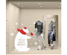 NT0321 Adesivi Murali - Orsetto con auguri - Vetrofanie natalizie - Misure 92x118 cm - bianco e rosso - Vetrine negozi per Natale, stickers, adesivi